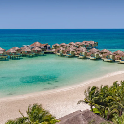Mexico Palafitos Overwater Bungalows Aerial Shot
