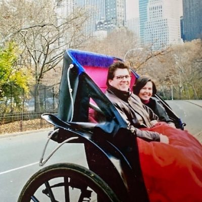 Mom and Dad in a carriage in New York