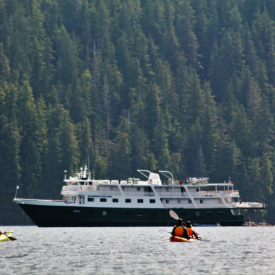 Alaska Guests kayaking with Wilderness Explorer Credit Uncruise